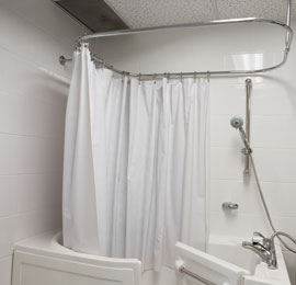 Curtain rod for walk-in bath